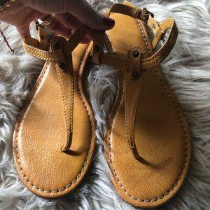 Frye mustard thong sandals